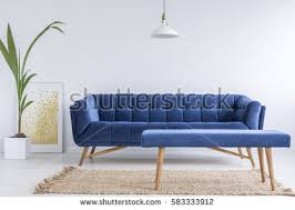 grey room blue couch bench side stock photo 583333897 shutterstock