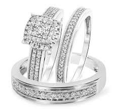 trio wedding sets 5 8 carat t w cut diamond trio wedding set 14k white gold