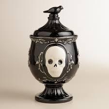 halloween entertaining serveware black skull apothecary treat jar black skulls halloween goodies