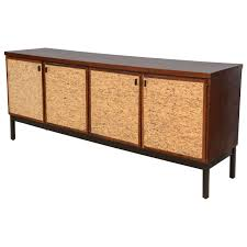italian modern mahogany and cork four door credenza or buffet for