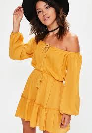 yellow dress yellow ruffle hem tassel waisted bardot dress missguided