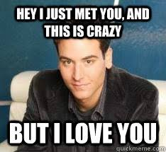 Hey I Love You Meme - hey i just met you and this is crazy but i love you ted mosby