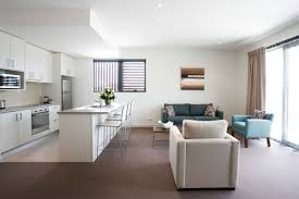 Living Room And Kitchen by The Living Room Of A Newly Refurbished House With Two Tone Leather