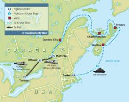 map of east canada eastern canada rail and cruise 15 day tour canada via rail