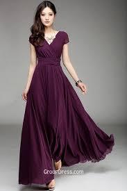 v neck simple purple short sleeve ruffled long chiffon prom dress