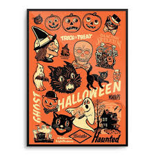 Folk Art Halloween Decorations Beistle Vintage 50 U0027s 60 U0027s Halloween Decoration Poster Print