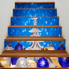 christmas tree and balls print home decor diy stair stickers blue
