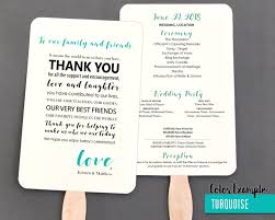 diy wedding program fan template thank you message wedding program fan cool colors