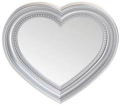 Shaped Bathroom Mirrors by Heart Shaped Wall Hanging Mirror Silver 45cm Blendboutique