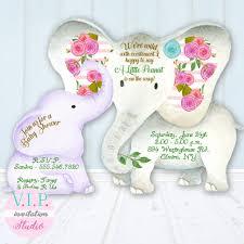 baby elephant shower invitation gender neutral boy or floral