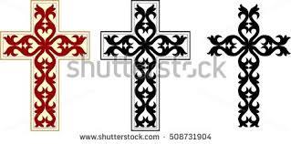 set orthodox byzantine crosses decorative stock vector