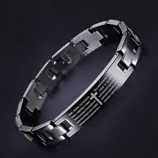 titanium magnetic bracelet black images Cross bible black titanium men magnet bracelet healing jewelry men jpg