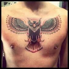 colorful chest owl tattoo tattoomagz