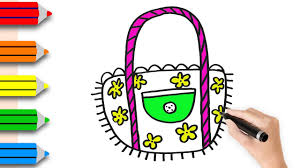 drawing handbag for girls u0026 coloring pages for kids how to draw