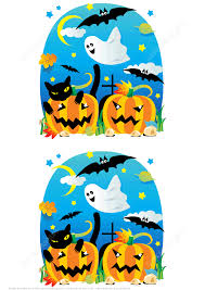 find 7 differences halloween scenes with pumpkins bats ghost