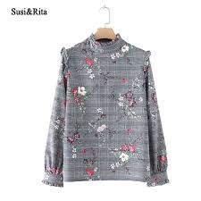 vintage blouse susi eleagnt floral print blouse sleeve plaid