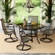 Potted Plants For Patio Furniture Round Patio Dining Table With Swivel Chairs And