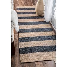 Flat Weave Runner Rugs Nuloom Handmade Flatweave Fiber Jute Blue Thick Stripes