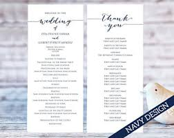 blank wedding program templates wedding program template etsy