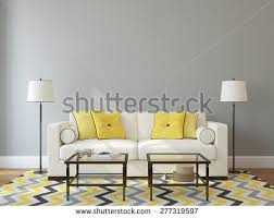 modern livingroom interior white couch near stock illustration
