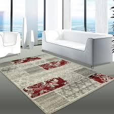Wohnzimmer Hoch Modern Teppich Modern Desinger Wohnzimmer Chapel Patchwork Grau Rot Creme