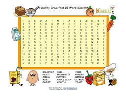breakfast fun 15 word search puzzle for children