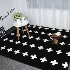 tapis de sol chambre mode noir blanc croix salon chambre dacoratif tapis zone tapis sol