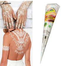 natural herbal henna cones temporary tattoo kit ink white body art