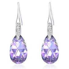 purple earrings queenees sterling silver made with swarovski crystals vitrial