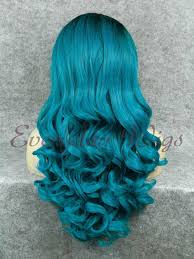 24 peacock blue ombre long wavy synthetic lace front wig edw025