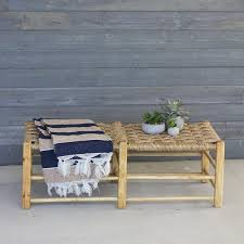 woven rush and wood bench