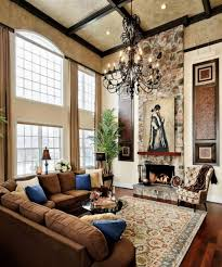Lighting For Living Room With High Ceiling Tuscan Living Room Style With High Ceiling Design And Glorious