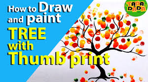 how to make colorful tree with thumb print step by step kids