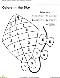 pictures on color by numbers worksheets for kindergarten
