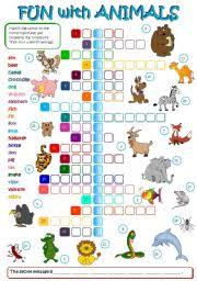 english worksheet fun with animals b u0026w key included animals