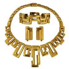 gold necklace bracelet earrings set images Burle marx modernist 18 karat gold necklace bracelet earrings set jpg