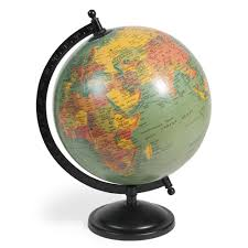deco campagne chic objet deco campagne chic 12 globe terrestre bleu h 29 cm