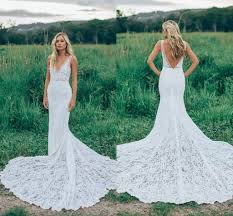 fitted wedding dresses 2017 boho backless lace wedding dresses v neck