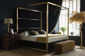 Black Four Poster Bed Frame Frame Black Metal Canopy Bed Cb2 Regarding Four Poster Decor 15