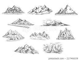 mountain landscapes sketches for nature design stock