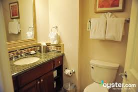 bathroom in the studio room at the hilton grand vacations club on