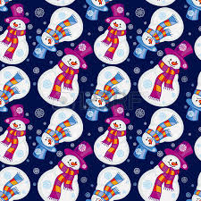 pattern clip art images cute snowman with scarf hat and snowflakes vector clip art