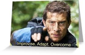 Meme Bear Grylls - improvise adapt overcome meme bear grylls greeting cards by
