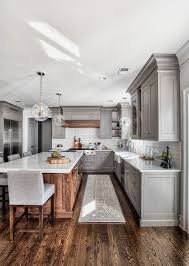 gray walls with stained kitchen cabinets kitchen with gray cabinets why to choose this trend decoholic