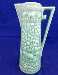 elephant vase ceramic vintage green glazed pottery jug elephants delcroft ware no 320