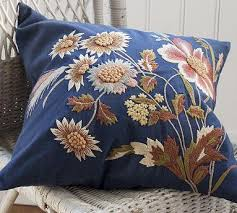 floral embroidered pillow cover pottery barn