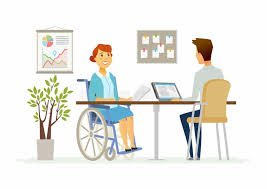 under the table jobs for disabled disabled woman in the office modern cartoon people characters