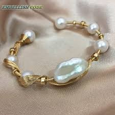 pearl bracelet designs images New gold with pearls hand made baroque pearl bracelet designer jpg