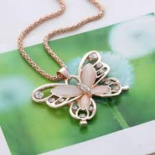butterfly long chain necklace images Fashion gold color opals crystal butterfly long chain pendants jpg
