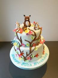 wildlife garden cake with friends fox seagull hedgehog and